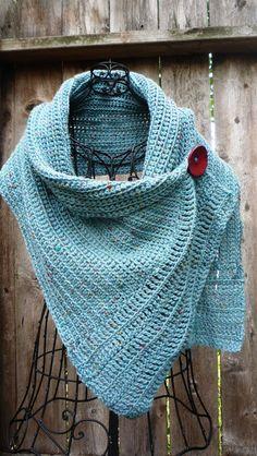 Buttoned Crochet Wrap ~ free pattern.
