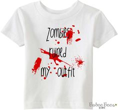 Zombies Ruined My Outfit Halloween Costume Baby Girl by BabeeBees