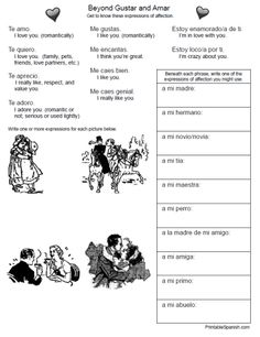 Printable Spanish FREEBIE of the Day: Beyond Gustar and Amar worksheet from PrintableSpanish.com