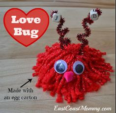 I love egg carton crafts! This little guy is so cute for Valentine's Day.