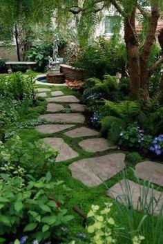 Beautiful garden with walkway