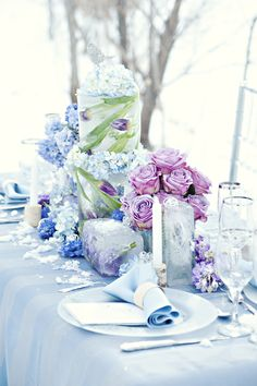 Winter Inspired Tablescape Design by Sweet Bliss Weddings | Sash and Satin