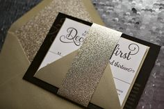 ADELE Suite Glitter Package, black and gold wedding invitation, gold glitter wedding, glitter wedding invitations, letterpress wedding invitations