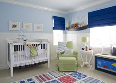 This nursery is casual and bright with a nautical flare.  #anchors #nautical #baby #nursery