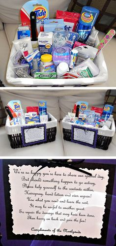 diy ladies & men's room baskets- perfect for a wedding! Better to be safe than sorry!