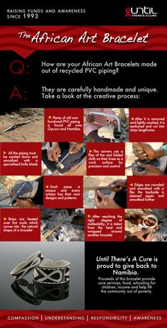 Our African Art Bracelets are made out of #recycled PVC pipes! Check out the process and shop at www.until.org/shop/jewelry #HIV #AIDS #CURE #UNTIL #UntilTheresACure