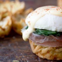 Eggs Florentine in hash brown nests