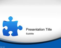 Free Jigsaw Puzzle PowerPoint Template with blue puzzle piece and curved effect