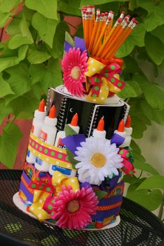 """We think this """"School Supply Cake"""" is the sweetest way to contribute to your child's classroom and lend his or her teacher some support!"""