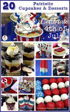 20 Cupcakes  Desserts for 4th of July :: on HoosierHomemade.com