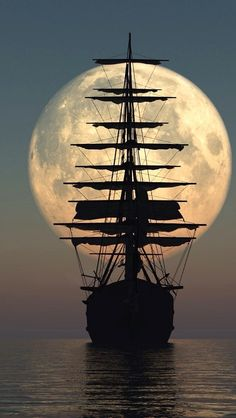 Old Ship Under The Moonlight...x