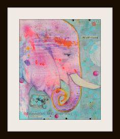 Elephant Print Elephant Art Pink Elephant Elephant by LeissnerArt, $25.00 bright art, elephant art, eleph art, dream, art pink, art prints, nurseri, babi, pink elephants