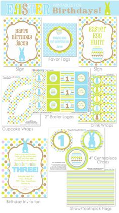 Easter Birthday -- BOYS BIRTHDAY Easter Printables - Huge Set includes Invitation by Amanda's Parties To Go
