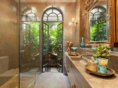 the doors, ladies room, dream bathrooms, luxurious bathrooms, outdoor showers, bathroom ideas, master baths, bathroom showers, courtyard
