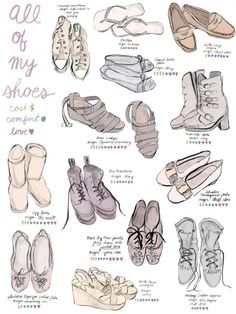 wat a nice idea :) I remeber drawing all my clothingcombinations years ago. art portfolio, shoes, girl fashion, art journals, shoe art, art prints, character design, art school, fashion drawings