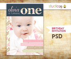 ... first birthday invitation photoshop template print at home birthday