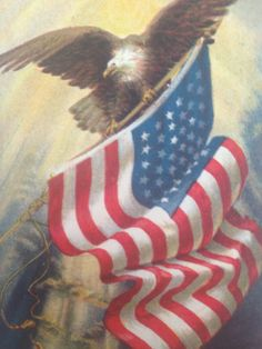 WWI Patriotic Postcard American Eagle with Flag Forth of July on Etsy, $15.00