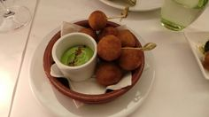 Fried olives at boulud sud  rather delicious