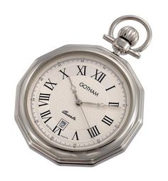 """Gotham Men's Silver-Tone Swiss Quartz Date Movement Pocket Watch # GWC14049S Gotham. $69.95. Rich silver textured dial with black Roman numerals and hands. Includes matching 15"""" curb pocket watch chain with spring ring attachment. Classic and elegant highly polished round silver-tone beveled edge case suitable for engraving. Arrives with deluxe draw string pouch and gift box, Selvyt polishing cloth, operating instructions and lifetime limited warranty card. Precisi..."""