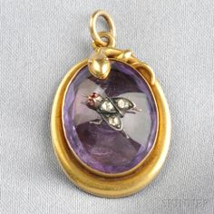 pendant - Antique Gold and Amethyst