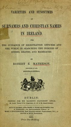 Varieties and synonymes of surnames and Christian Names in Ireland