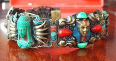 Max Norbert Neiger Pharaoh Bracelet Enamel Auschwitz Egyptian Deco Czech | eBay