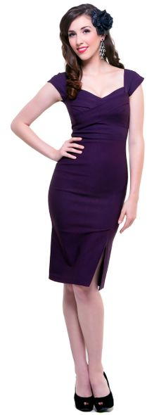 1940's Style Stop Staring Eggplant Mad Men Wiggle Dress