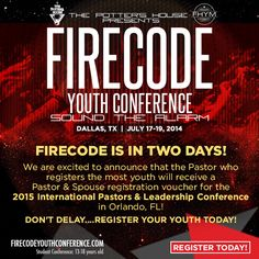 Youth Pastors, we need you to register today - http://firecodeyouthconference.com/