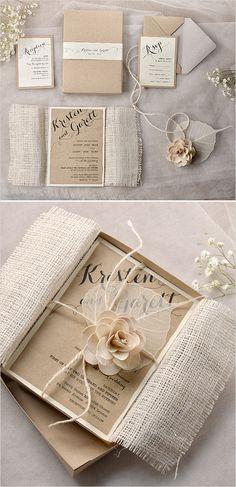 Shabby chic wedding invitations.