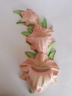 Carlton Ware Vintage Gladioli Wall Pocket Vase Pink Green - or in pink, hmmm.....