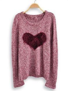 Wine Red Long Sleeve Love Heart Sweater