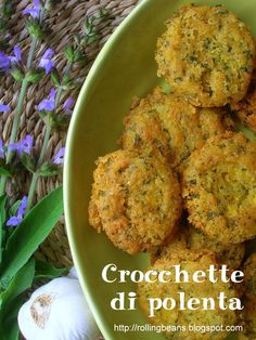Crocchette di polenta / Leftover polenta croquettes     This is the basic recipe, if I may say so, to reuse the leftover polenta and make tasty croquettes to be served as an appetizer or finger food. I call it basic recipe because you can add various ingredients depending on your taste and  your diet (vegetarian,  vegan or omnivore)..... #ricette #vegan  ricette vegane