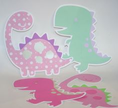 Set of 4 Girl Dinosaur Birthday Party Decorations - Pink, Purple, Green