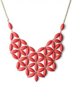 Red Stone Bib Necklace