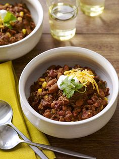 Slow Cooker Barbecue Chili #myplate #gameday #eats
