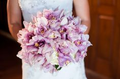 Gorgeous lavender orchid wedding bouquet.