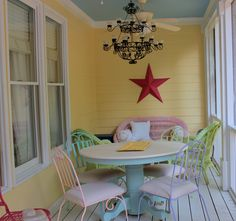 Love these sherbet colored chairs!