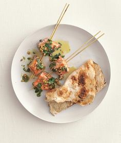 Salmon Kebabs With Cilantro Sauce recipe from realsimple.com #myplate #protein