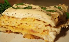 onion lasagna, cream sauc, caramel onion