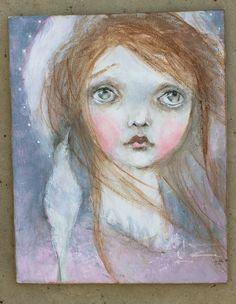 original girl child dove saint portrait sweet  by fadedwest,