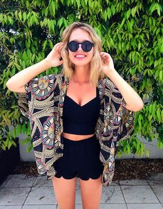 Essena O'Neill wearing the Hightail Playsuit and Bandaged Crop Black | Beginning Boutique