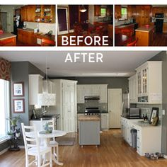 DIY:  Our $500 DIY Kitchen Remodel - this is an unbelievable makeover!!!  She goes through all of the steps on how she remodeled her kitchen, including painting cabinets, refacing countertops, tile backsplash, etc.