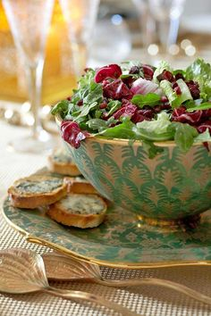Xmas salad w/Gorgonzola croutons + pomegranate seeds
