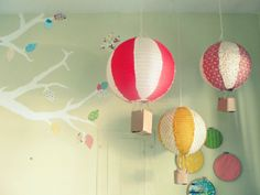 Handmade hot air balloons hanging from the ceiling? What an adorable idea for a kid's room! airballoon, craft, idea, paper lantern, lantern hot, papers, hot air balloons, lanterns, kid