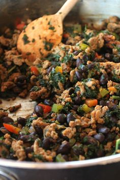 Kale, Turkey and Black Bean Taco Filling -Plus 5 Ways to Use It!