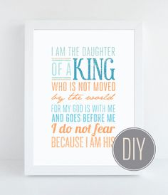 Daughter of a King - Christian Wall Quote - Religious Art and Typography - Instant Download