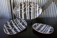 Aspen Trees - Jon Loer 2013 - earthenware with black and white engobe stenciled trees.