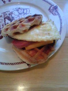 Breakfast sandwiches, biscuits via waffle iron, eggs, breakfast meat and cheese. YUMMMMM!