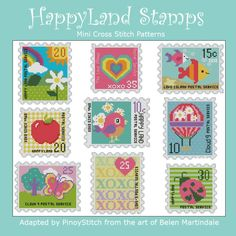 Mini Cross Stitch Pattern:Happy Land Stamps  Design Source:Belen Martindale  DMC Floss Colors:34  Stitch Count:50x60(Ave each Happy Stamp)  Approximate Finished Size on Recommended Fabric:*  14count =4wx4hInches  16count =3wx4hInches  18count =3wx3hInches  22count =2wx3hInches