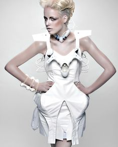 Wearable technology by Anouk Wipprecht #futuristic #future #model #fashion #editorial #white #technology #dress